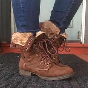 JustFab Brown Faux Fur Lined Lace Up Boots